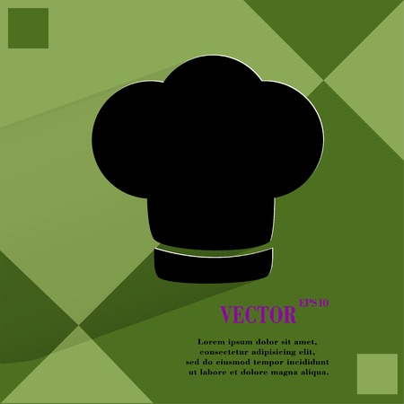 cook out: Chef cap. Cooking. Flat modern web button  on a flat geometric abstract background  Vector.   Illustration