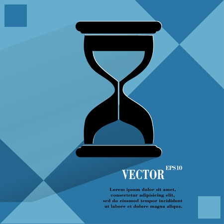 metering: Sand clock. Glass timer . Flat modern web button  on a flat geometric abstract background  Vector.