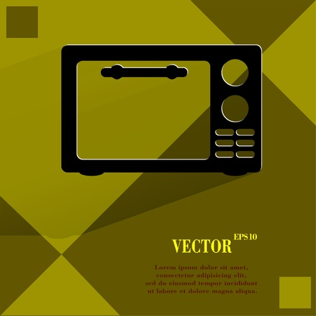 microwave. kitchen equipment Flat modern web button  on a flat geometric abstract background. Vector.   Vector