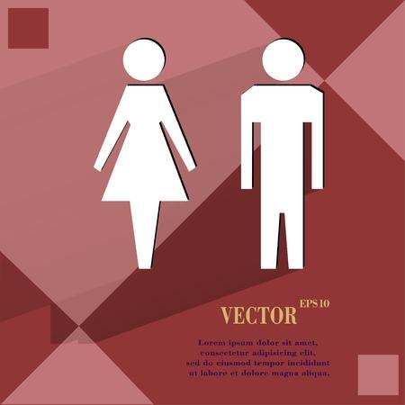 hommes et femmes: les hommes, les femmes suluet plat de conception web moderne sur un fond abstrait g�om�trique plat. Vector. Illustration