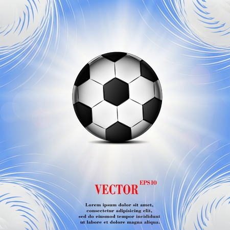 Soccer ball icon on a flat geometric abstract background  Vector illustration.   Vector