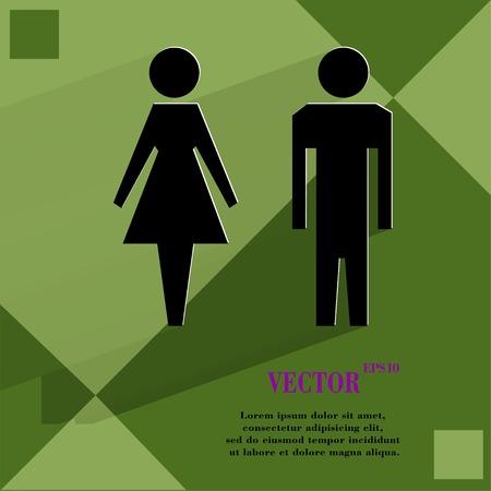 hommes et femmes: les hommes, les femmes suluet plat de conception web moderne sur un fond abstrait g�om�trique plat. Vector. 1 0