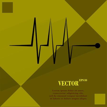 infarctus: le rythme cardiaque. Appartement bouton web moderne sur une surface plane g�om�trique abstrait Vector. Illustration