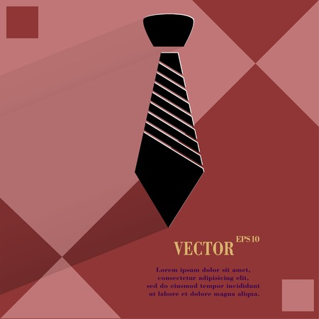 dresscode: Hipster tie. Flat modern web button  on a flat geometric abstract background  Vector.