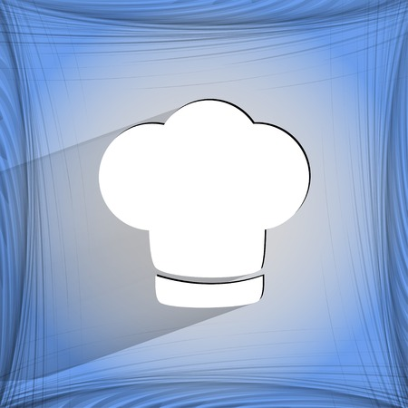 fine cuisine: Chef cap. Cooking. Flat modern web button  on a flat geometric abstract background  Vector.   Illustration
