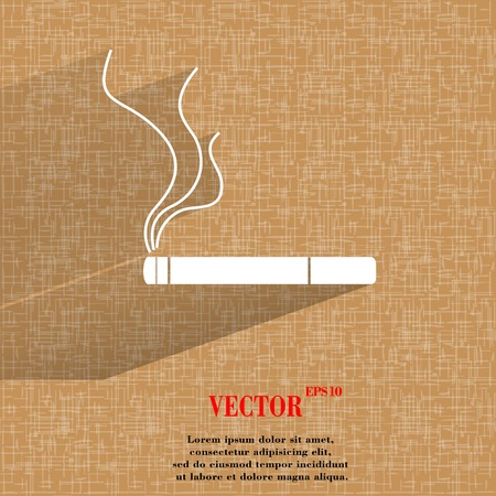 interdiction: Smoking sign. cigarette. Flat modern web button a flat geometric abstract background  Vector.