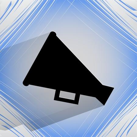 loudhailer: Meg�fono, icono meg�fono. sobre un fondo abstracto geom�trico VECTOR plana.