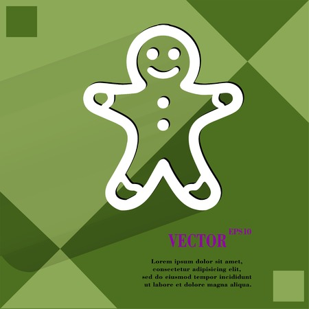 gingerbreadman: Gingerbread. Flat modern web button   on a flat geometric abstract background Vector.   Illustration