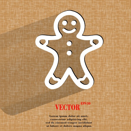 Gingerbread. Flat modern web button   on a flat geometric abstract background Vector.   Illustration
