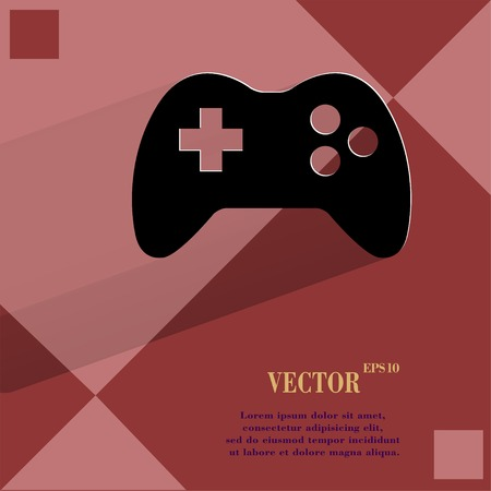 Gaming Joystick. Flat modern web design on a flat geometric abstract background Vector.   Vector