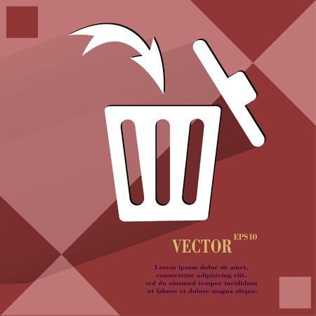 Trash bin. Flat modern web button  on a flat geometric abstract background  Vector.   Vector