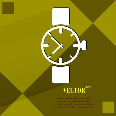 Watch,clock. Flat modern web button  on a flat geometric abstract background Vector.   Vector