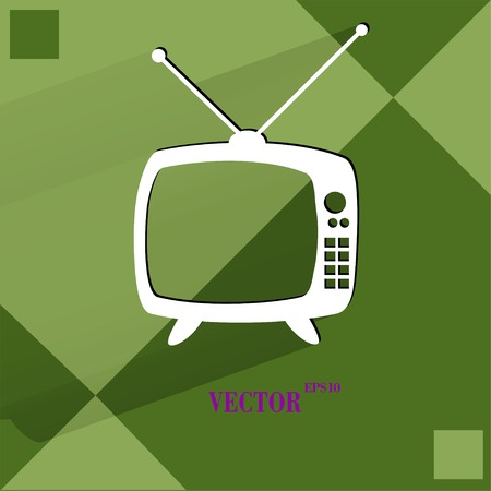 Retro tv. Flat modern web button   on a flat geometric abstract background  Vector.   Vector