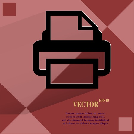 Printer.Flat modern web design on a flat geometric abstract background Vector.   Vector