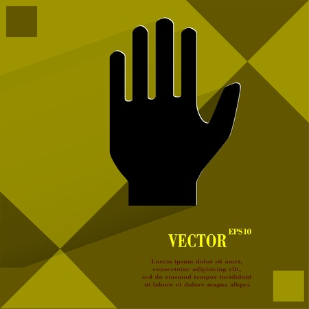 restricted area sign: Stop. hand. Flat modern web  design on a flat geometric abstract background  Vector.   Illustration