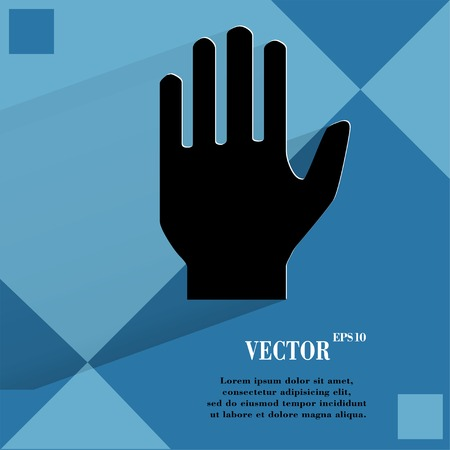urban area: Stop. hand. Flat modern web  design on a flat geometric abstract background  Vector.   Illustration