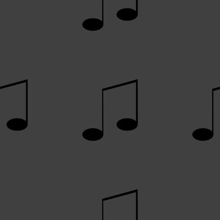 volume  background: Music elements notes web icon. flat design. Seamless gray pattern.  Illustration