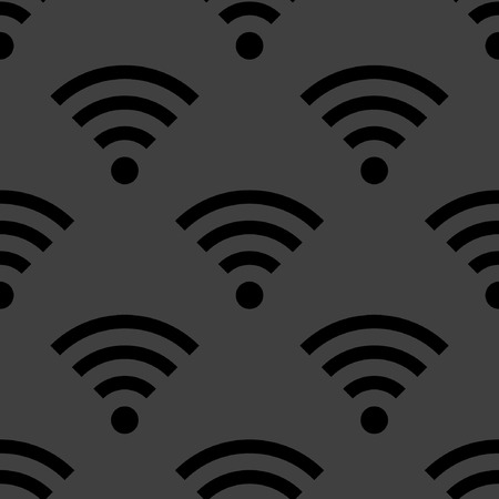 WIFI web icon. flat design. Seamless gray pattern.  Vector