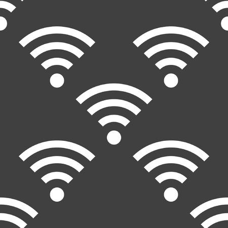 lan: WIFI web icon. flat design. Seamless gray pattern.