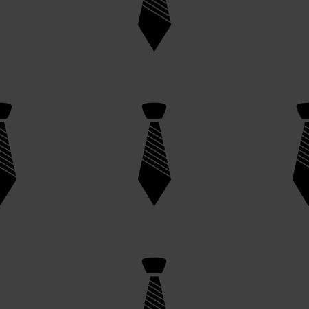 dresscode: Hipster tie web icon.  flat design. Seamless gray pattern.