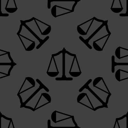 truthfulness: Scales balance web icon flat design. Seamless gray pattern.