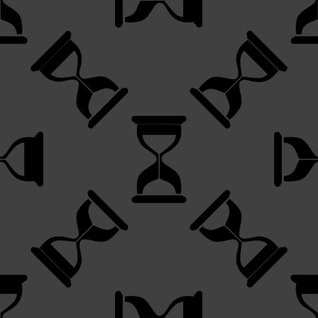 Sand clock Glass timer web icon. flat design. Seamless gray pattern.  Vector