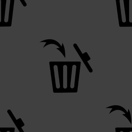 Trash bin web icon. flat design. Seamless gray pattern. Vector