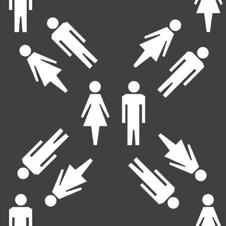 hommes et femmes: hommes suluet, les femmes ic�ne de web design plat. Motif gris transparent. Vecteur EPS10 Illustration