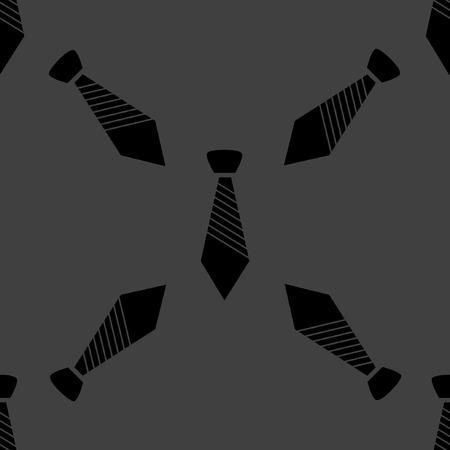 dresscode: Hipster tie web icon.  flat design. Seamless gray pattern. Illustration