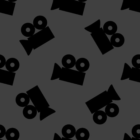 footage: Video-camera web icon. flat design. Seamless gray pattern.