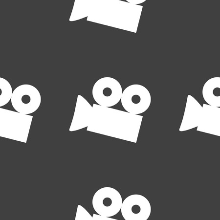 Video-camera web icon. flat design. Seamless gray pattern.  Vector