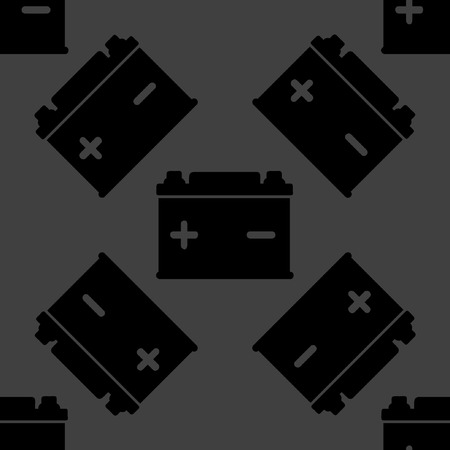 Car battery web icon. flat design. Seamless gray pattern.  Vector