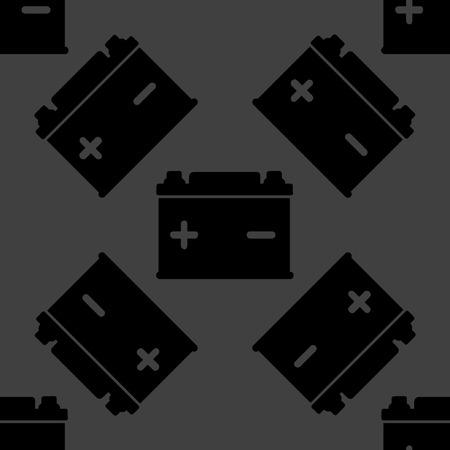 Car battery web icon. flat design. Seamless gray pattern.  Vector