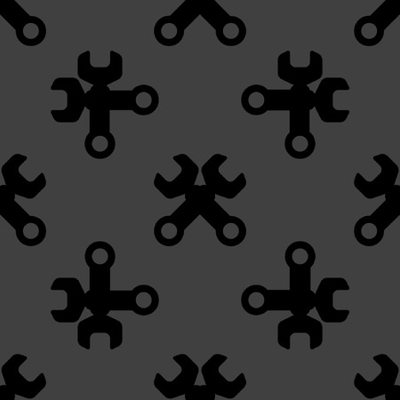 Wrench. tool to work web icon flat design. Seamless pattern.  Vector
