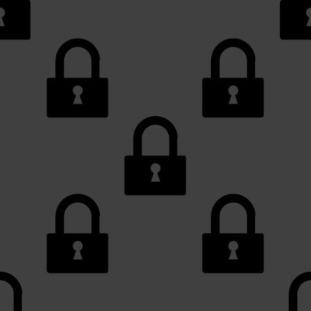 padlock web icon. flat design. Seamless pattern.  Vector