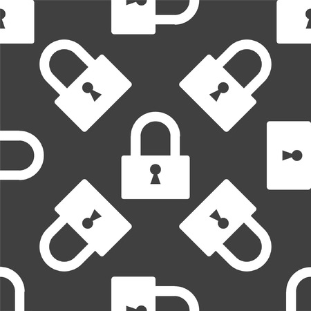 padlock web icon. flat design. Seamless pattern.  Vector