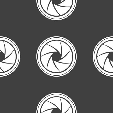 diaframma: Macchina fotografica Photo icona diaframma web. design piatto. Seamless grigio.