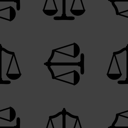 Scales balance web icon flat design. Seamless gray pattern.