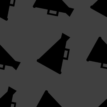 loudhailer: Meg�fono, icono web meg�fono dise�o plano. Seamless patr�n gris.