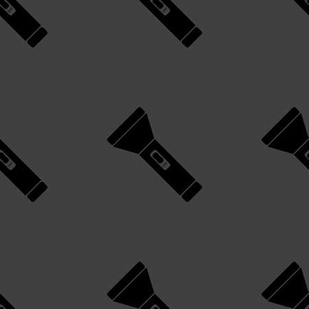 electric torch: Flashlight web icon. flat design. Seamless gray pattern.