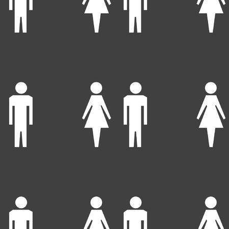 hommes et femmes: silhouette hommes, femmes ic�ne de web design plat. Motif gris transparent. Illustration
