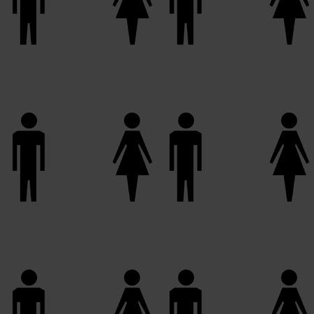 mannen en vrouwen: Het silhouet van mannen, vrouwen web pictogram plat ontwerp. Naadloos grijs patroon. Stock Illustratie