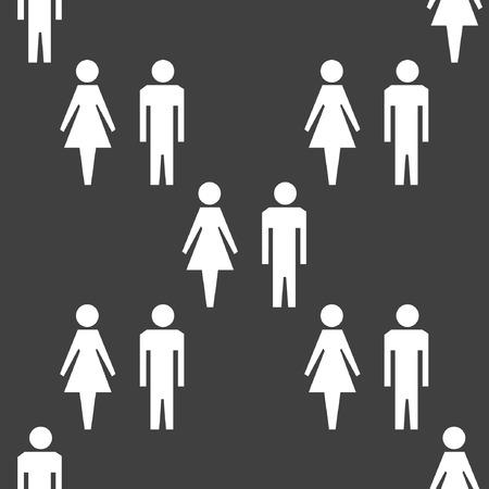 mannen en vrouwen: Het silhouet van mannen, vrouwen web icon platte design. Naadloos grijs patroon.