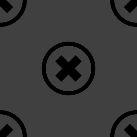 pushbutton: cancel  web icon. flat design. Seamless pattern.