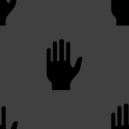 restricted area sign: hand web icon. flat design. Seamless pattern.