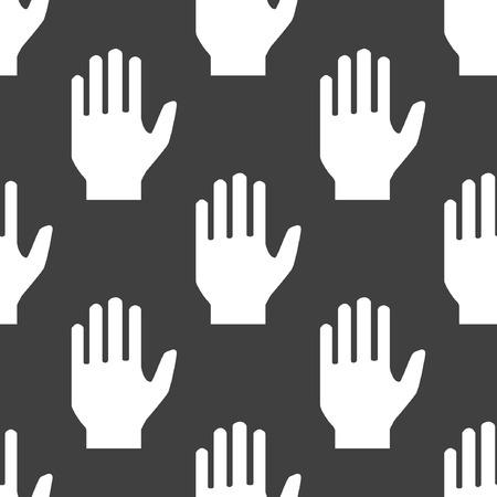 no way: hand web icon. flat design. Seamless pattern. Illustration