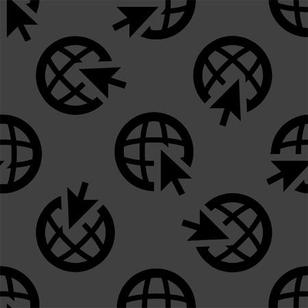globe web icon. flat design. Seamless pattern.  Vector