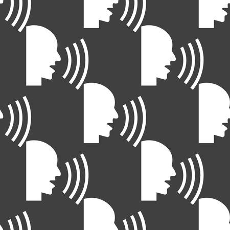 sideview: talking web icon. flat design. Seamless pattern.