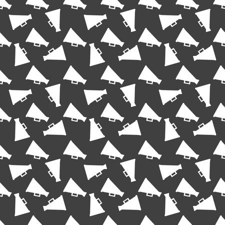 loudhailer: Megaphone, Loud-hailer web icon flat design. Seamless gray pattern.