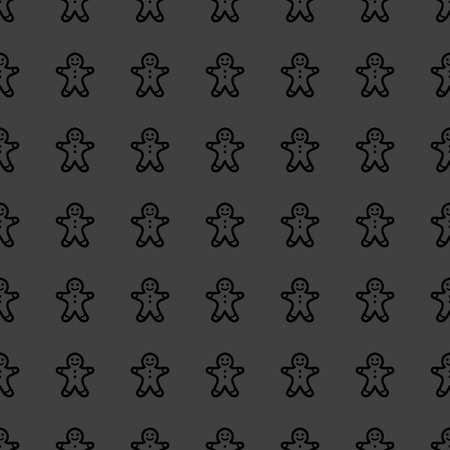 Gingerbread web icon flat design Seamless gray pattern. Stock Photo